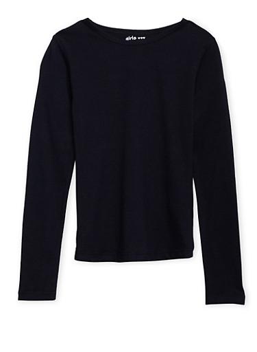 Girls 7-16 Black Long Sleeve Shirt,BLACK,large