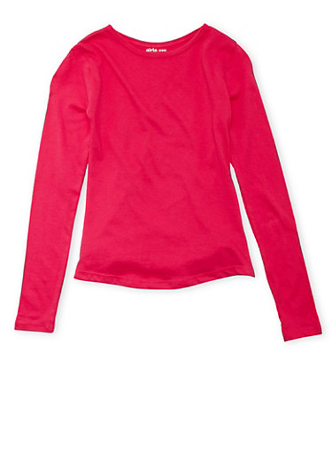 Girls 7-16 Long Sleeve Crew Neck Shirt,PINK,large