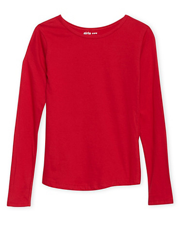 Girls 7-16 Solid Long-Sleeve Top with Round Hem,RED,large