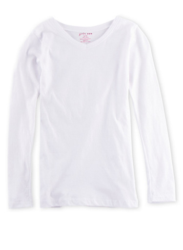 Girls 7-16 Long Sleeve Top with Ruched Sides,WHITE,large