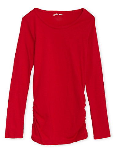 Girls 7-16 Red Ruched Side Top with Crew Neck,RED,large