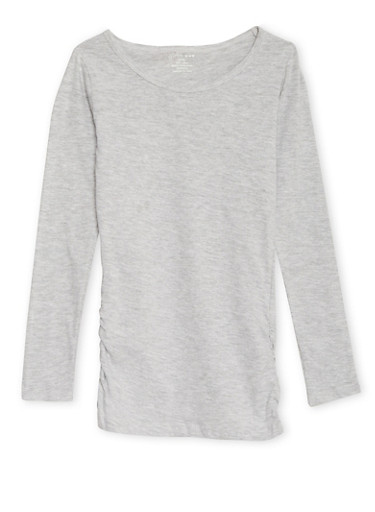 Girls 7-16 Long Sleeve Top with Ruched Sides,HEATHER,large