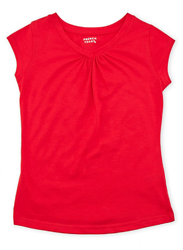 Girls 7-16 Short Sleeve V Neck Tee,RED,large