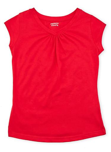 Girls 7-16 Short Sleeve V Neck Tee,RED,large