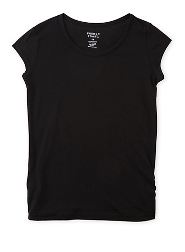 Girls 7-16 French Toast Short Sleeve Tee,BLACK,large