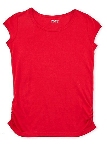 Girls 7-16 French Toast Short Sleeve Tee,RED,large