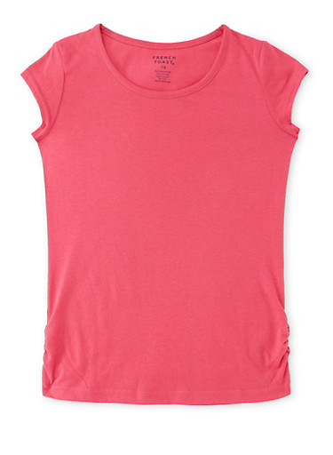 Girls 7-16 French Toast Tee with Ruched Sides,FUCHSIA,large