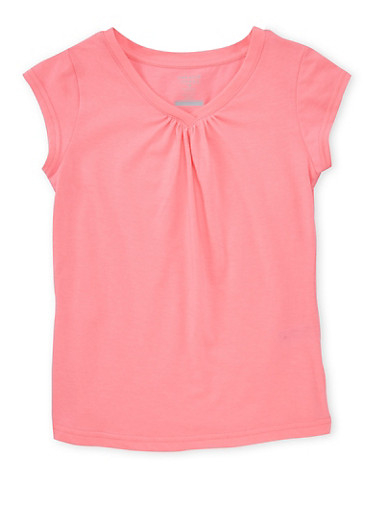 Girls 7-16 French Toast Pink Shirred V Neck T Shirt,PINK,large