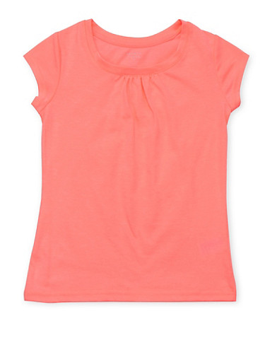 Girls 7-16 French Toast Neon Pink Shirred T Shirt,NEON PINK,large