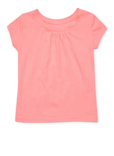 Girls 7-16 French Toast Coral Crew Neck T Shirt,CORAL,large