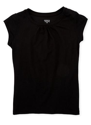 Girls 7-16 French Toast Black Shirred T Shirt,BLACK,large