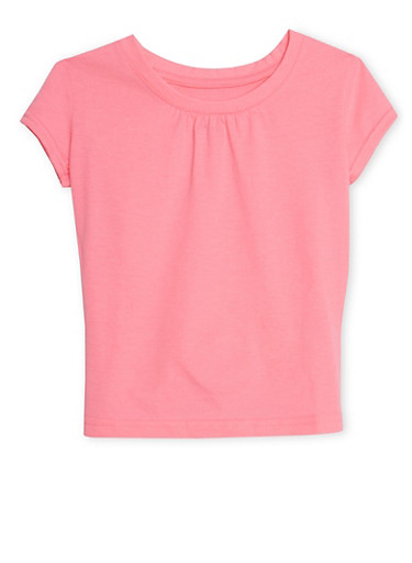 Girls 7-16 French Toast Crew Neck Short Sleeve Top,NEON PINK,large