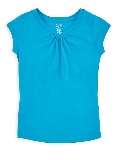 Girls 7-16 French Toast Blue Shirred T Shirt,BLUE,large