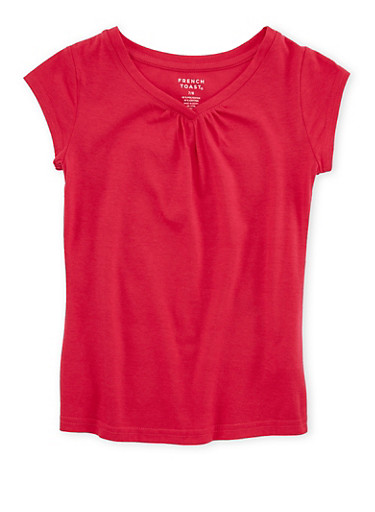 Girls 7-16 French Toast Fuchsia Shirred T Shirt,FUCHSIA,large