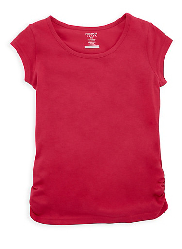 Girls 7-16 French Toast Fuchsia Top with Ruched Detail,FUCHSIA,large