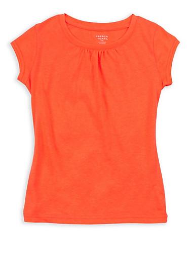 Girls 7-16 French Toast Orange Shirred T Shirt,ORANGE,large
