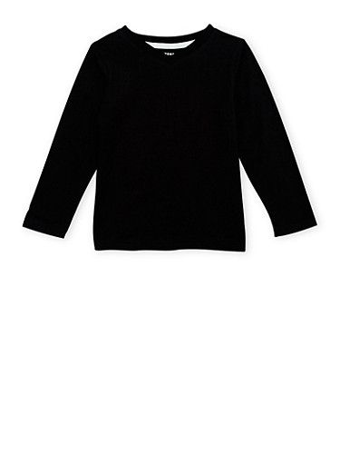 Boys 4-7 French Toast V Neck Top with Long Sleeves,BLACK,large