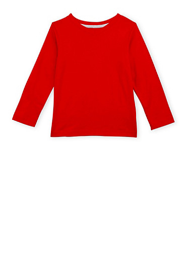Boys 4-7 French Toast V Neck Top with Long Sleeves,RED,large