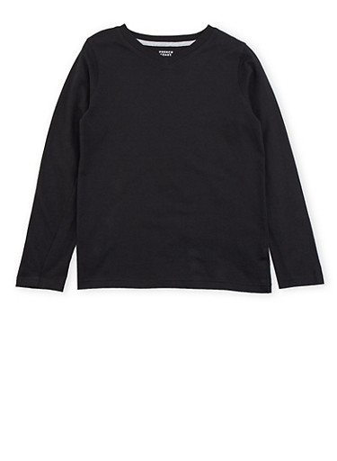 Boys 8-16 French Toast Long Sleeve V Neck Tee,BLACK,large