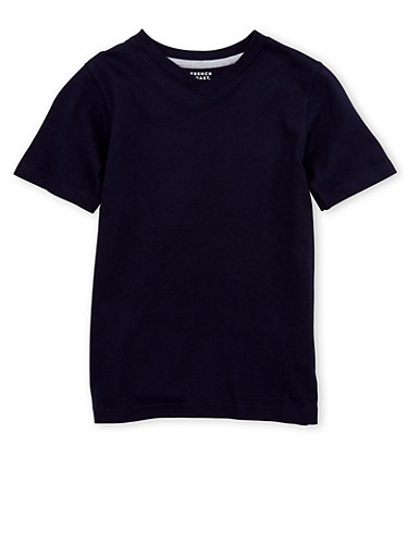 Boys 8-16 French Toast Short Sleeve V Neck Tee,NAVY,large
