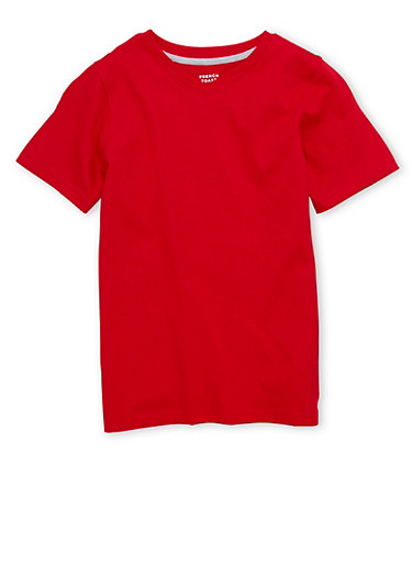 Boys 8-16 French Toast Short Sleeve V Neck Tee,RED,large