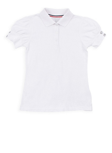 Girls 7-16 Rhinestone Short Sleeve Polo Shirt School Uniform,WHITE,large