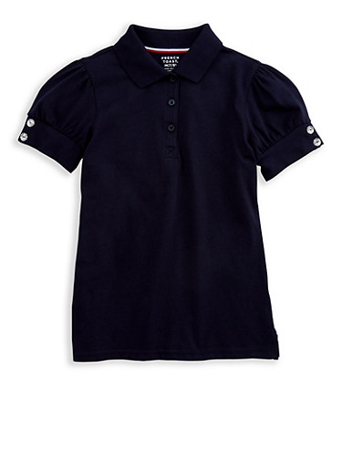 Girls 7-16 Rhinestone Short Sleeve Polo Shirt School Uniform at Rainbow Shops in Daytona Beach, FL | Tuggl
