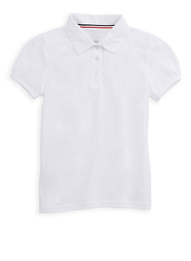 Girls 7-14 Short Sleeve Polo Shirt with Lace Detail School Uniform at Rainbow Shops in Daytona Beach, FL | Tuggl