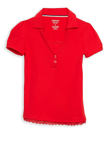 Girls 7-14 Short Sleeve Knit Polo with Lace Trim School Uniform,RED,large