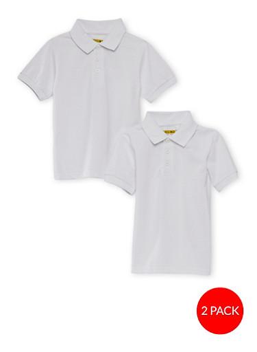 Girls 4-6x Short Sleeve Polo - 2 Pack - School Uniform,WHITE,large