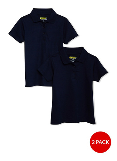 Girls 7-14 Short Sleeve Polo - 2 Pack - School Uniform,NAVY,large