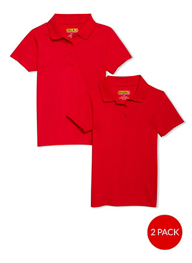 Girls 7-14 Short Sleeve Polo - 2 Pack - School Uniform,RED,large