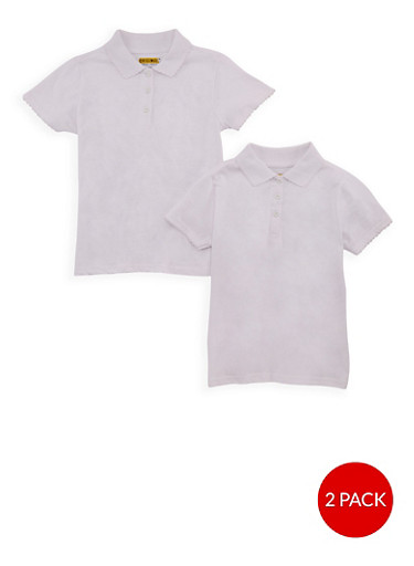 Girls 7-14 Short Sleeve Polo - 2 Pack - School Uniform,WHITE,large
