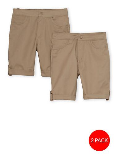 Girls 4-6X Adjustable Waist Shorts - 2 Pack-  School Uniform,KHAKI,large