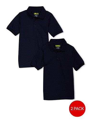 Boys 8-14 Short Sleeve Pique Polo - 2 Pack - School Uniform,NAVY,large