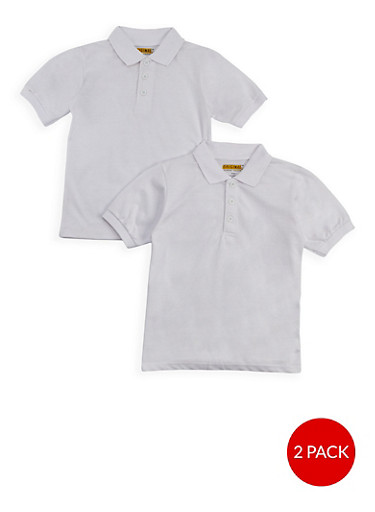 Boys 8-14 Short Sleeve Polo - 2 Pack - School Uniform,WHITE,large