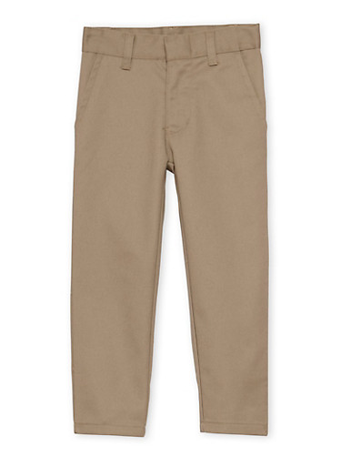 Boys 4-7 Adjustable Waist Twill School Uniform Pants,KHAKI,large