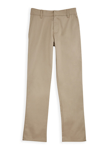 Boys 8-14 Adjustable Waist Twill School Uniform Pants,KHAKI,large
