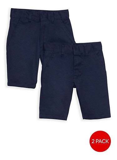 Boys 4-7 Adjustable Waist Shorts - 2 Pack- School Uniform,NAVY,large