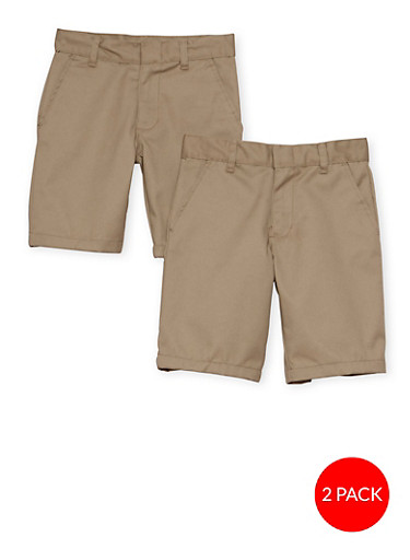 Boys 8-14  Adjustable Waist Shorts - 2 Pack - School Uniform,KHAKI,large