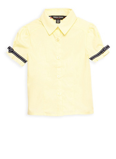 Girls 2T- 4T Short Sleeve Blouse with Ribbon Bow Detail School Uniform,YELLOW,large