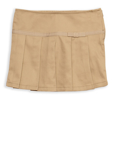 Girls 2T- 4T Pleated Skirt with Ribbon Trim School Uniform,KHAKI,large