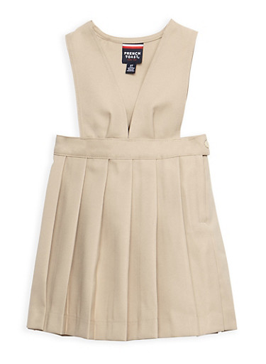 Girls 2T-4T V Neck Pleated Jumper School Uniform at Rainbow Shops in Daytona Beach, FL | Tuggl