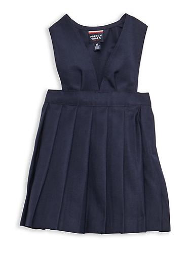 Girls 2T-4T V Neck Pleated Jumper School Uniform,NAVY,large