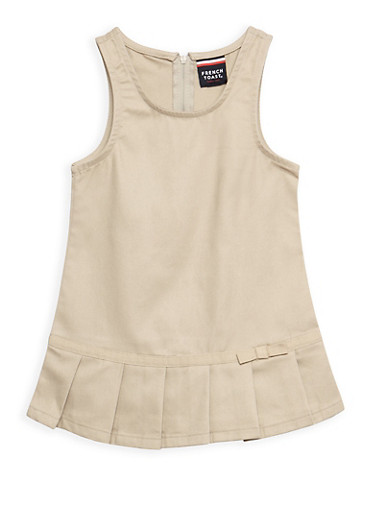 Girls 2T- 4T Pleated Hem Jumper School Uniform,KHAKI,large