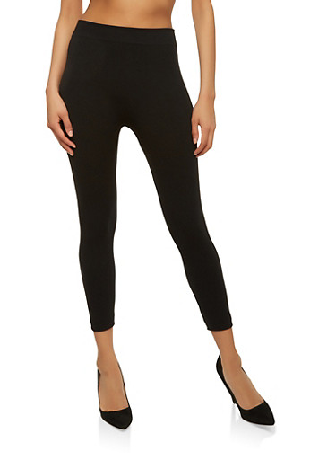 Basic Cropped Leggings,BLACK,large