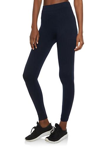 Solid Basic Leggings,NAVY,large