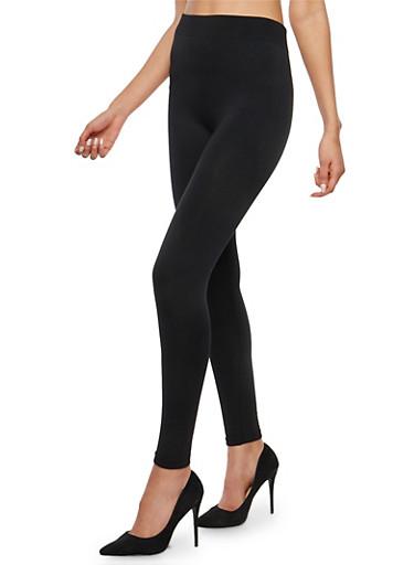 Black Fleece Lined Leggings,BLACK,large
