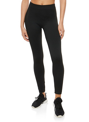 Solid Terry Lined Leggings,BLACK,large