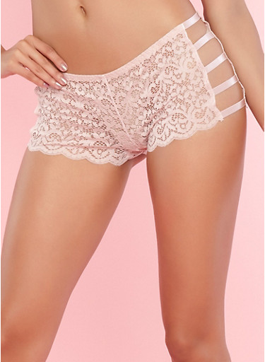 Caged Side Pink Lace Boyshort Panties,PINK TOPAZ,large